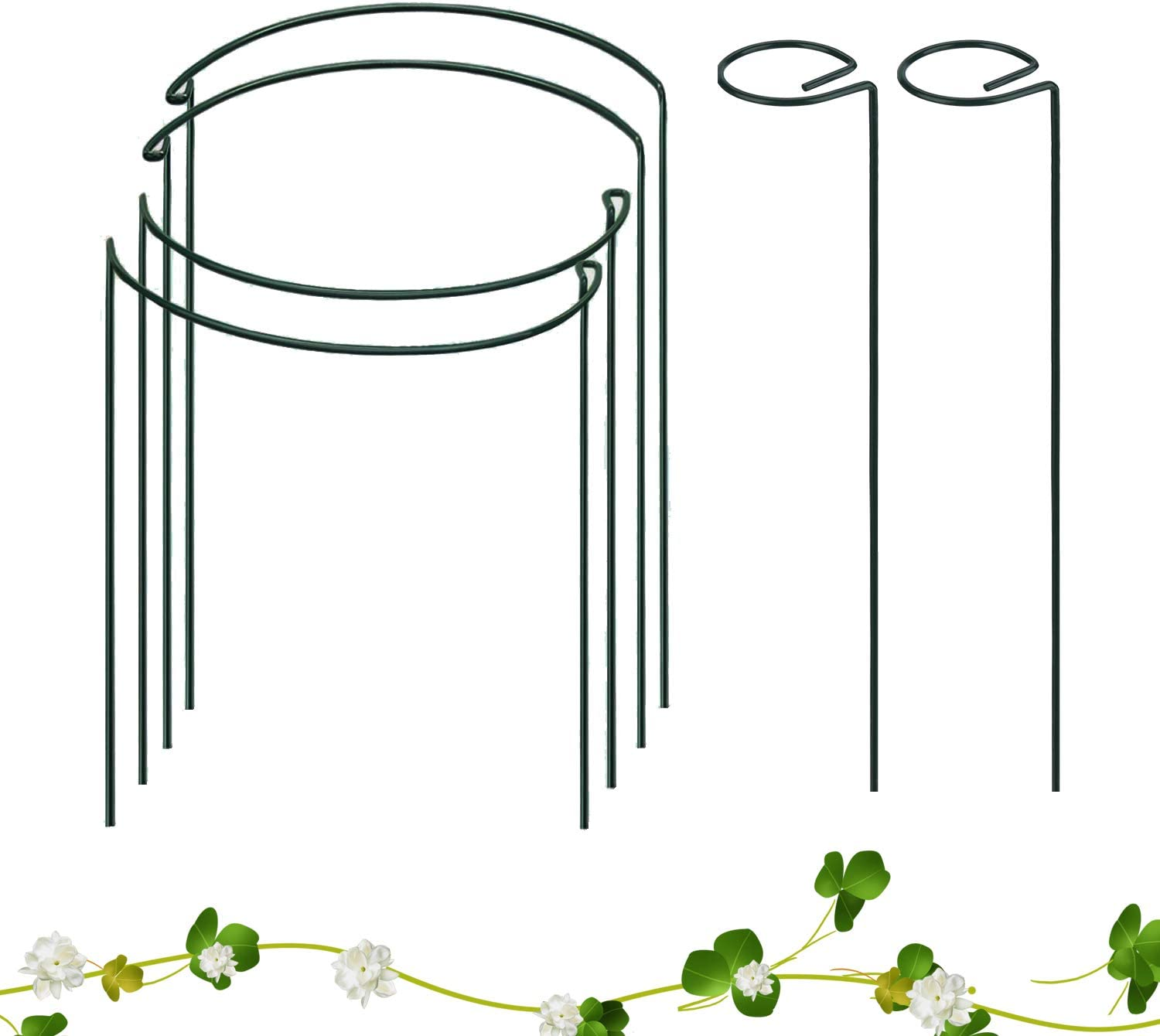 6 Packs Plant Support Stakes, Including 4 Packs Half Round Garden Plant Support Ring Hoop, 2 Packs Single Stem Support Stakes, Plant Support Ring Cage for Flowers,Tomatoes, Orchid, Peony, Lily, Rose