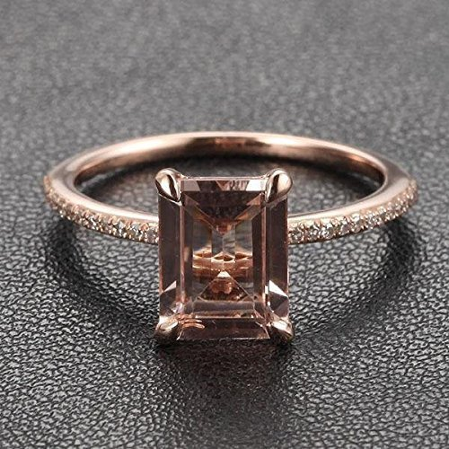 Emerald Cut Morganite Engagement Ring Pave Diamond Wedding 14k Rose Gold 6x8mm ()