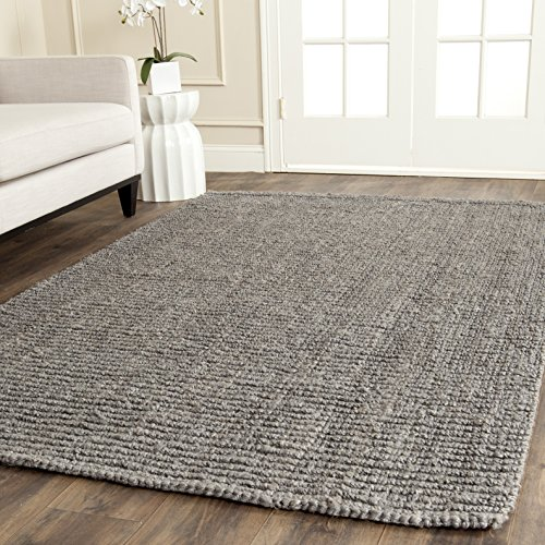 er Collection NF447G Hand Woven Light Grey Jute Area Rug (5' x 8') ()