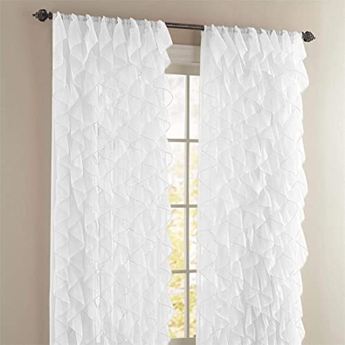 Rooney 2PC Sheer Voile Ruffled Curtain Panels White - the best window curtain panel for the money
