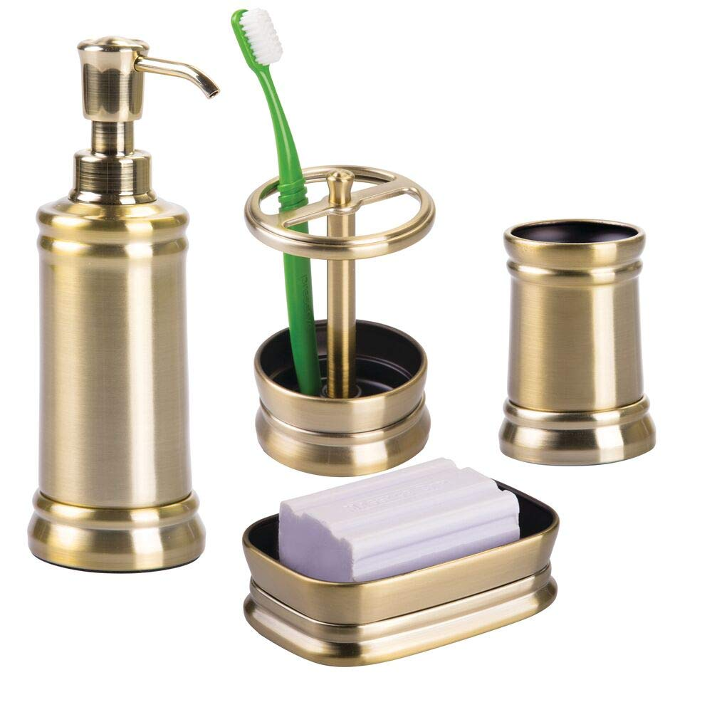 mDesign Bath Accessory Set, Soap Dispenser Pump, Toothbrush Holder, Tumbler, Soap Dish- 4 Pieces, Soft Brass