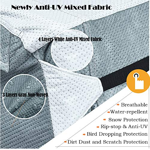 KING BIRD Upgraded Travel Trailer RV Cover, Extra-Thick 4 Layers Anti-UV Top Panel, Deluxe Camper Cover, Fits 27'- 30' RV Cover -Breathable, Water-Repellent, Rip-Stop with 2Pcs Straps & 4 Tire Covers by KING BIRD (Image #2)