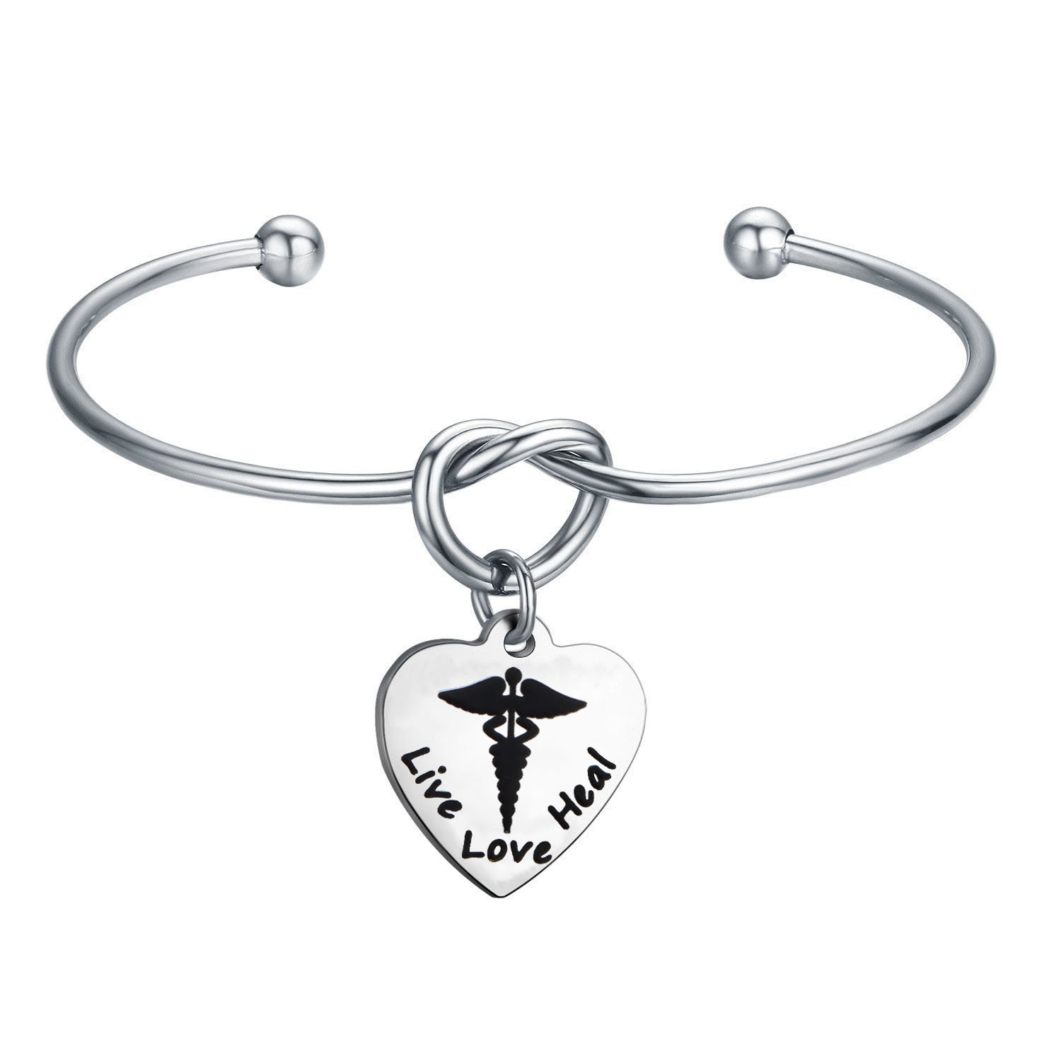 KUIYAI RN Bangle Bracelet Live Love Heal Medical Charm Doctor Nurse Gift