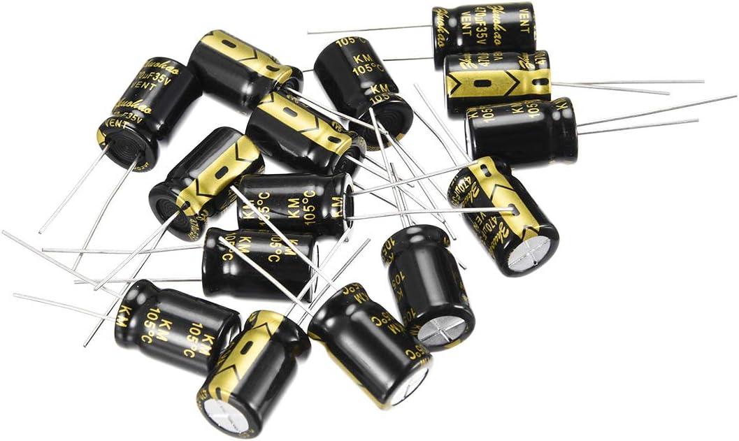 Sourcingmap condensador electrol/ítico radial de aluminio con 680uF 25V 105 Celsius Life 2000H 10 x 13 mm negro 15 piezas