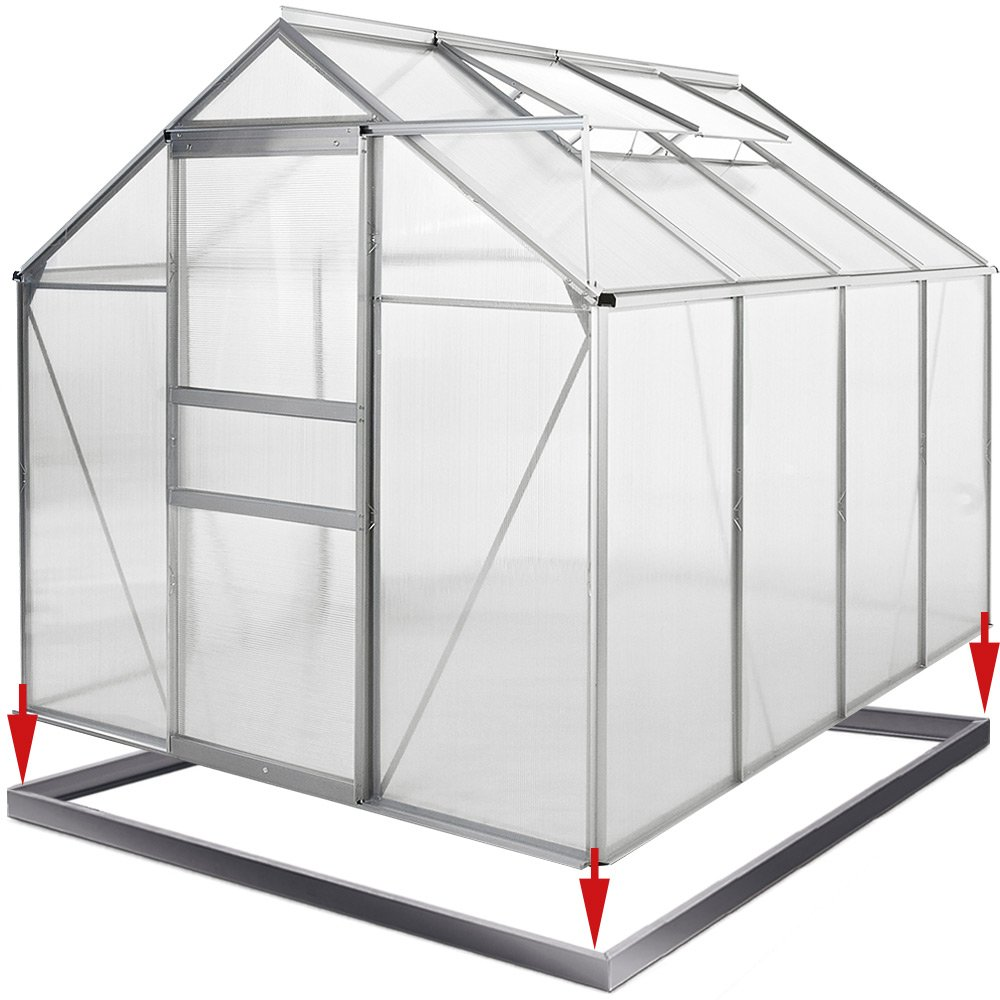 Greenhouse Aluminium 4.75 m² 250 x 190 cm 8.2 x 6.2 ft Base Steel Base Garden House Cold Frame Plant House