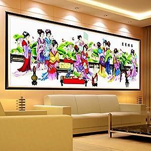 悟客/wuke精準印花十字繡琴棋書畫最新款客廳畫3米大幅人物系列szx