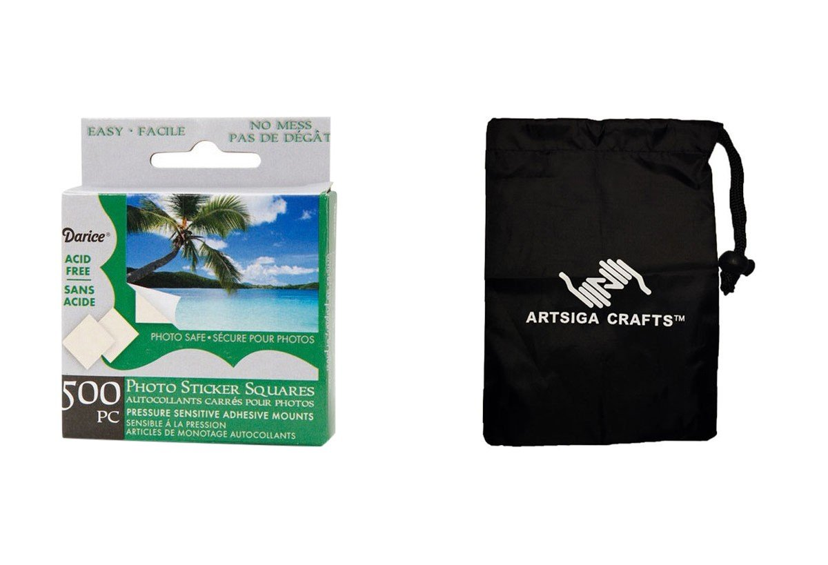 Darice Papercraft Photo Sticker Mounting Squares 500 Pieces (12 Pack) LK 02EBH500 Bundle with 1 Artsiga Crafts Small Bag