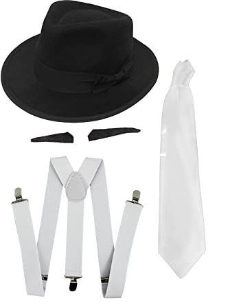 GANGSTER SET FANCY DRESS COSTUME ACCESSORY SPIV TASH + WHITE TIE + WHITE  BRACES + BLACK WHITE TRILBY HAT 1920 S MOB GANGSTER MEN AL CAPONE (BLACK HAT)   ... 8aa1bcd23ab8