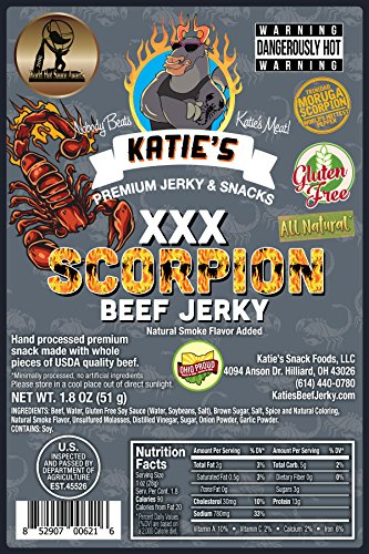 Scorpion XXX Beef Jerky (Trinidad Moruga Scorpion) GLUTEN FREE, All Natural, Hottest in the World (Best Peanuts In The World)