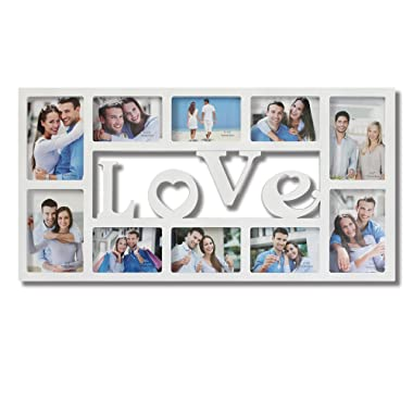 Collage Picture Frames White  LOVE  Decorative Wall Hanging Artistic 3D Puzzle Style Photo Frame 10 Openings 4x6 and 5x7 inches Photos