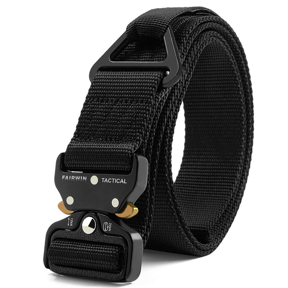 Fairwin Tactical Rigger Belt, Nylon Webbing Waist Belt with V-Ring Heavy-Duty Quick-Release Buckle (Black, XXXL (Waist 55''-60''Width 1.5'')) by Fairwin