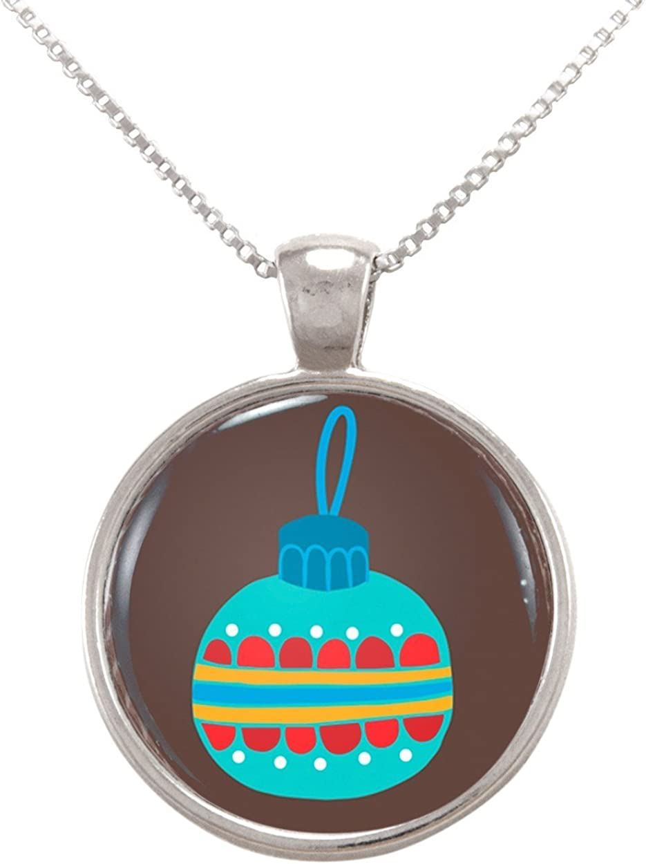 Arthwick Store Illustration of a Christmas Ornament on Brown Pendant Necklace