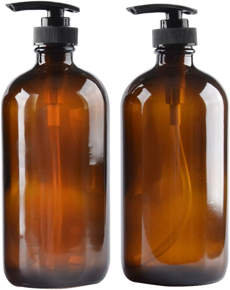 Two Amber Glass Bottle Bottles with Plastic Pump. Eco-friendly 8oz 8 oz Refillable Bottle for Cooking Sauces,Essential Oils,Lotions,Organic Beauty Products(Two Chalkboard Labels free)
