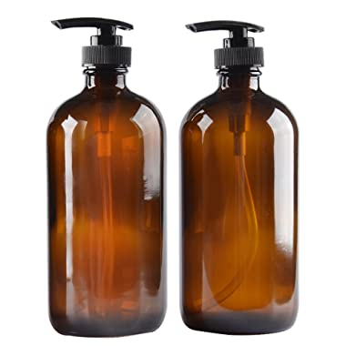 Two Amber Glass Bottle Bottles with Plastic Pump. Eco-Friendly 8oz 8 oz Refillable Bottle for Cooking Sauces,Essential Oils,Lotions,Liquid Soaps or Organic Beauty Products(Two Chalkboard Labels Free)