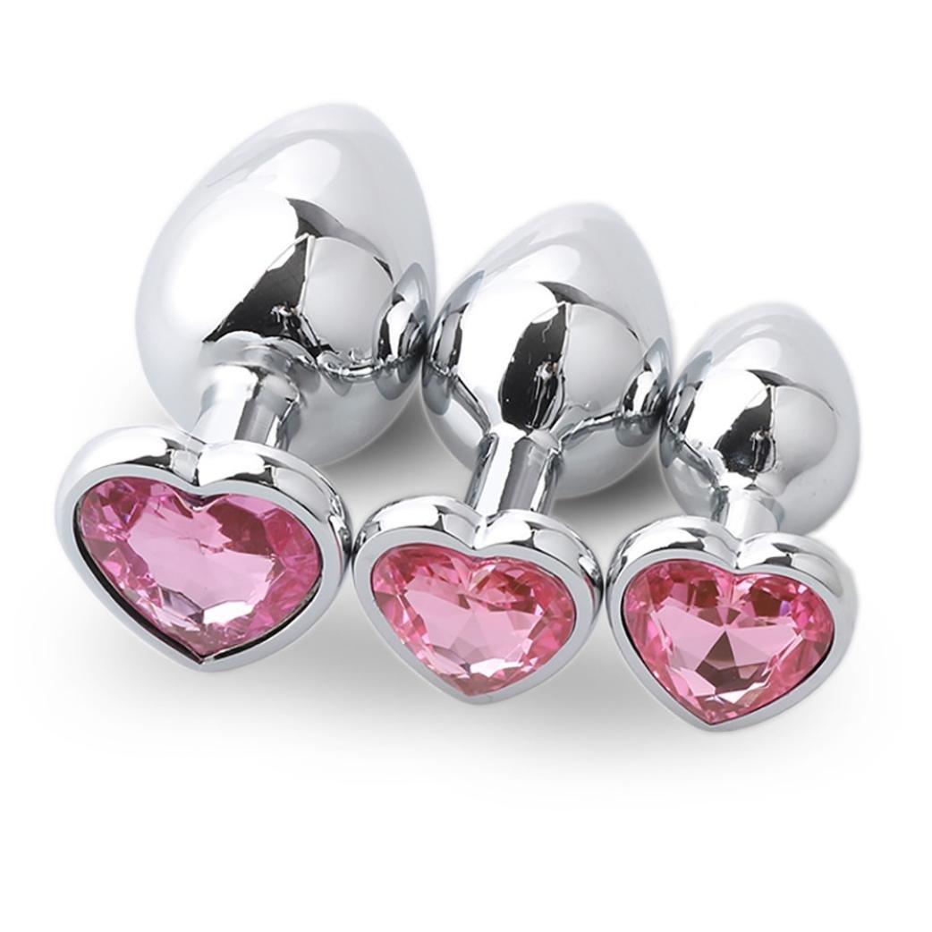 Yoyorule 3 Pcs Heart Shaped Butt-Anal-Play Sex Base with Jewelry Birth Stone G-spot Rose Jewel (Pink)