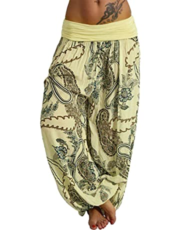 15bac3894cb9a Women Casual Print Pants Women Loose Pocket Button Harem Pants Wide Leg  Pants