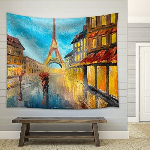 Oil Painting of Eiffel Tower France Fabric Wall