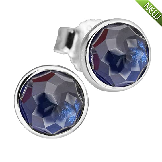 Jewelry & Accessories 2017 September Droplets Silver Earrings With Dark Blue Cz 100% 925 Sterling Silver Jewelry Diy Pandocci Easy To Use Stud Earrings
