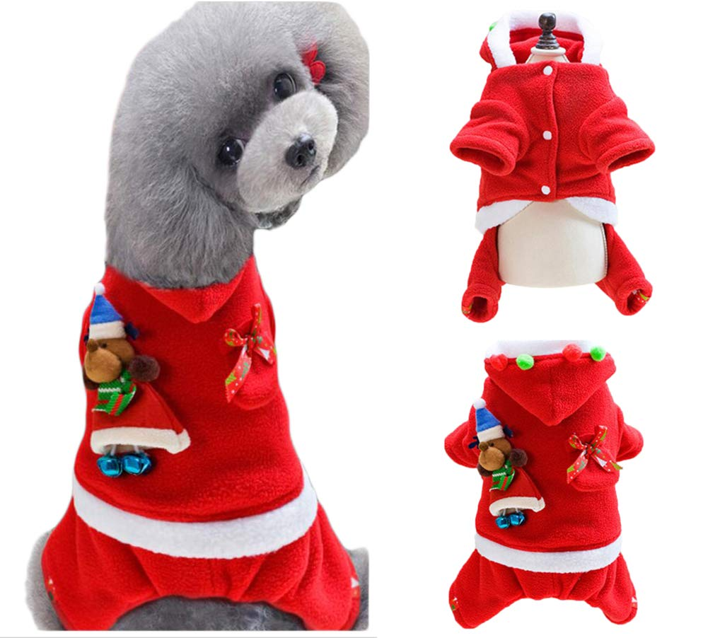 Back Length 7\ BeeChamp Super Cute Dog Christmas Costume Hooded Coat Santa Claus Pet Clothes for Puppies (Doll, Back Length 7 )