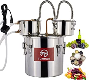 Tumfuzz Moonshine Still 3 Gallon 12L with pump 3 pots Standard Capacity Stainless Steel Water Alcohol Distiller Copper Tube Home Brewing Kit Build-in Thermometer for DIY Whisky Wine Brandy