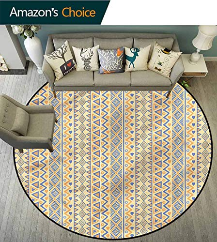 RUGSMAT Striped Round Kids Rugs,Stripes Native American Living Room,Bedroom,Desk/Chair Mats,Round Diameter-24