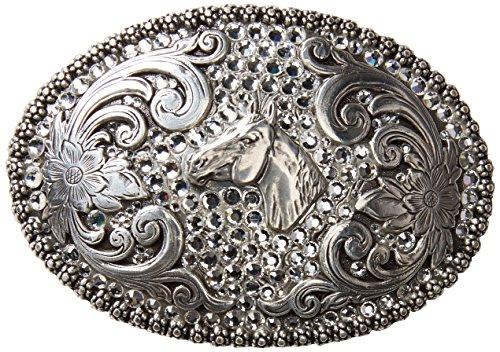 Nocona Women's Rhinestones Horse Head Belt Buckle, Silver, OS