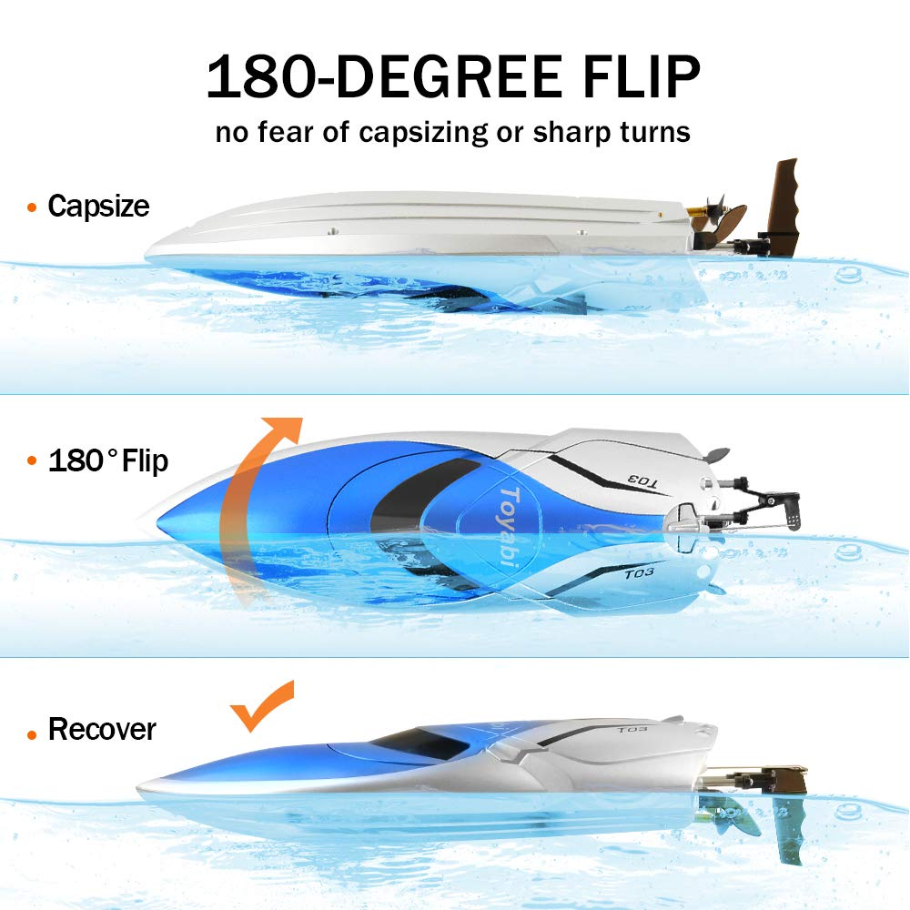GizmoVine RC Boat High Speed (20MPH+) Remote Control Boats for Pools and Lakes with Extra Battery for Kids and Adults, 2019 Update Version (H106) by Gizmovine (Image #2)