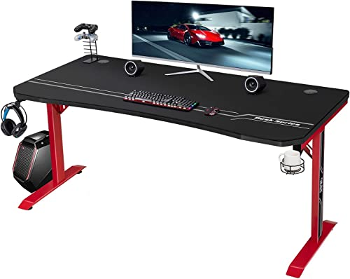 JUMMICO Gaming Desk 55 inch Computer Desk T-Shaped Gamer PC Workstation Office Table Review