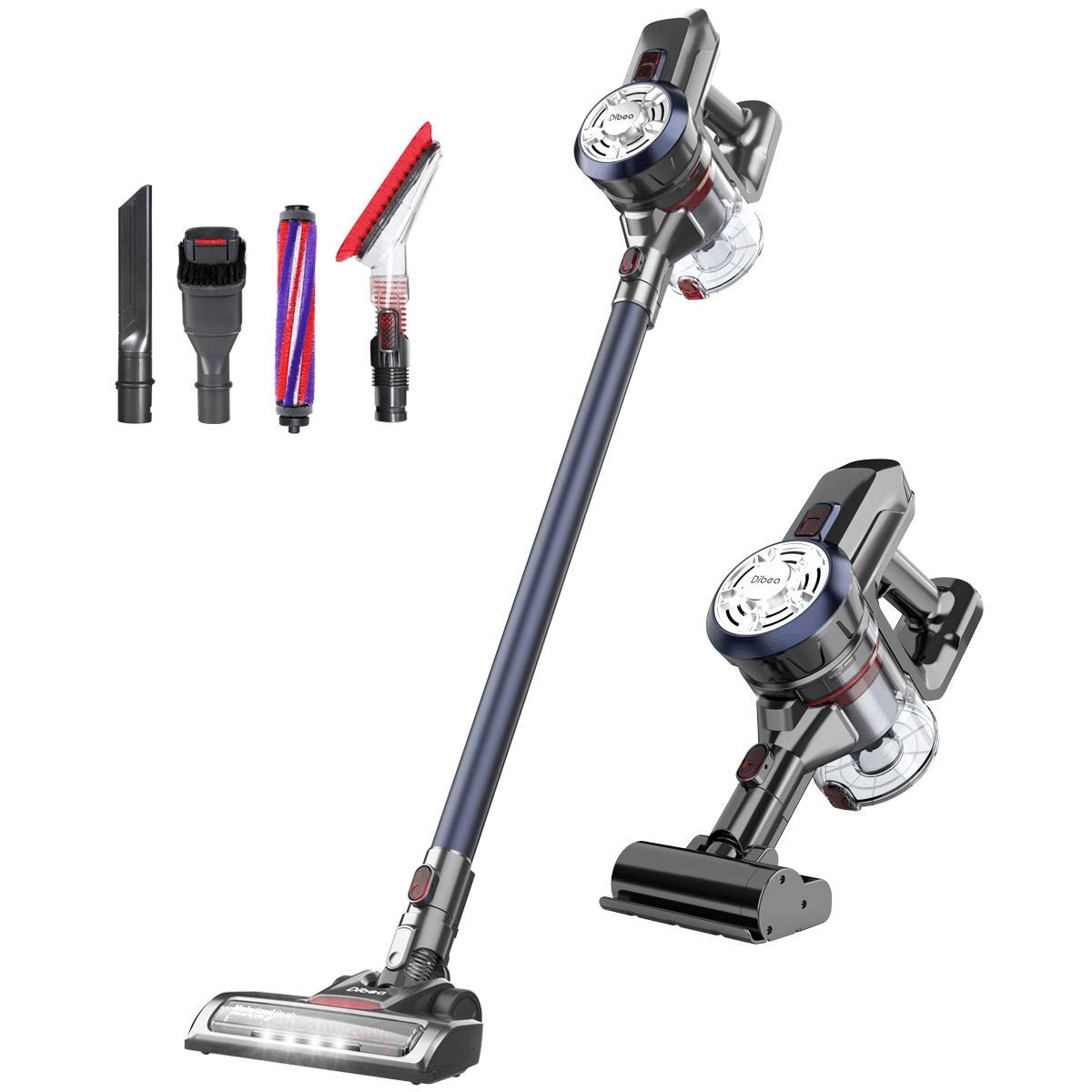 Dibea D18Pro Cordless Stick Vacuum Cleaner Lightweight 17KPa Powerful Suction Bagless Rechargeable 2 in 1 Handheld Car Vacuum with Mini Motorized Brush, Navy Blue