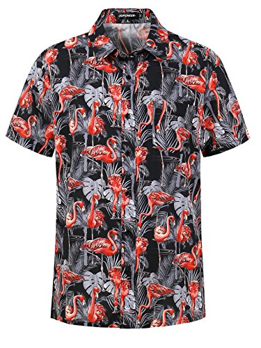Hopioneer Men's Tropical Hawaiian Aloha Luau Shirt Short Sleeve - (Honolulu Hawaiian Shirt)