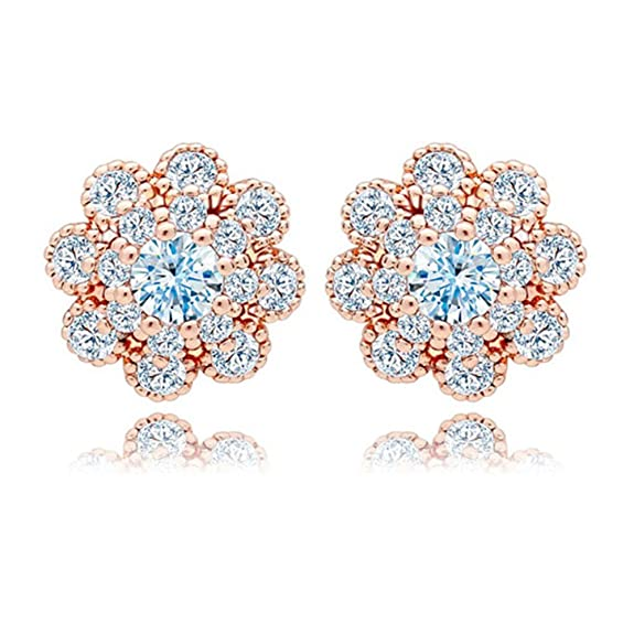 18K Gold Plated Pave Cubic Zirconia Earrings