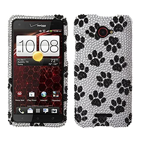 Fincibo (TM) Bling Crystal Full Rhinestones Diamond Protector Cover Case For HTC Droid DNA 6435 - Black White Dog (Cover Htc Droid Dna 6435)