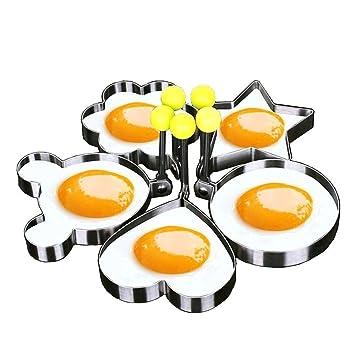 Molde de huevo anillo de huevo frito Shaper SUS304 acero inoxidable Pancake molde cocina herramienta Pancake anillos 5pcs: Amazon.es: Hogar