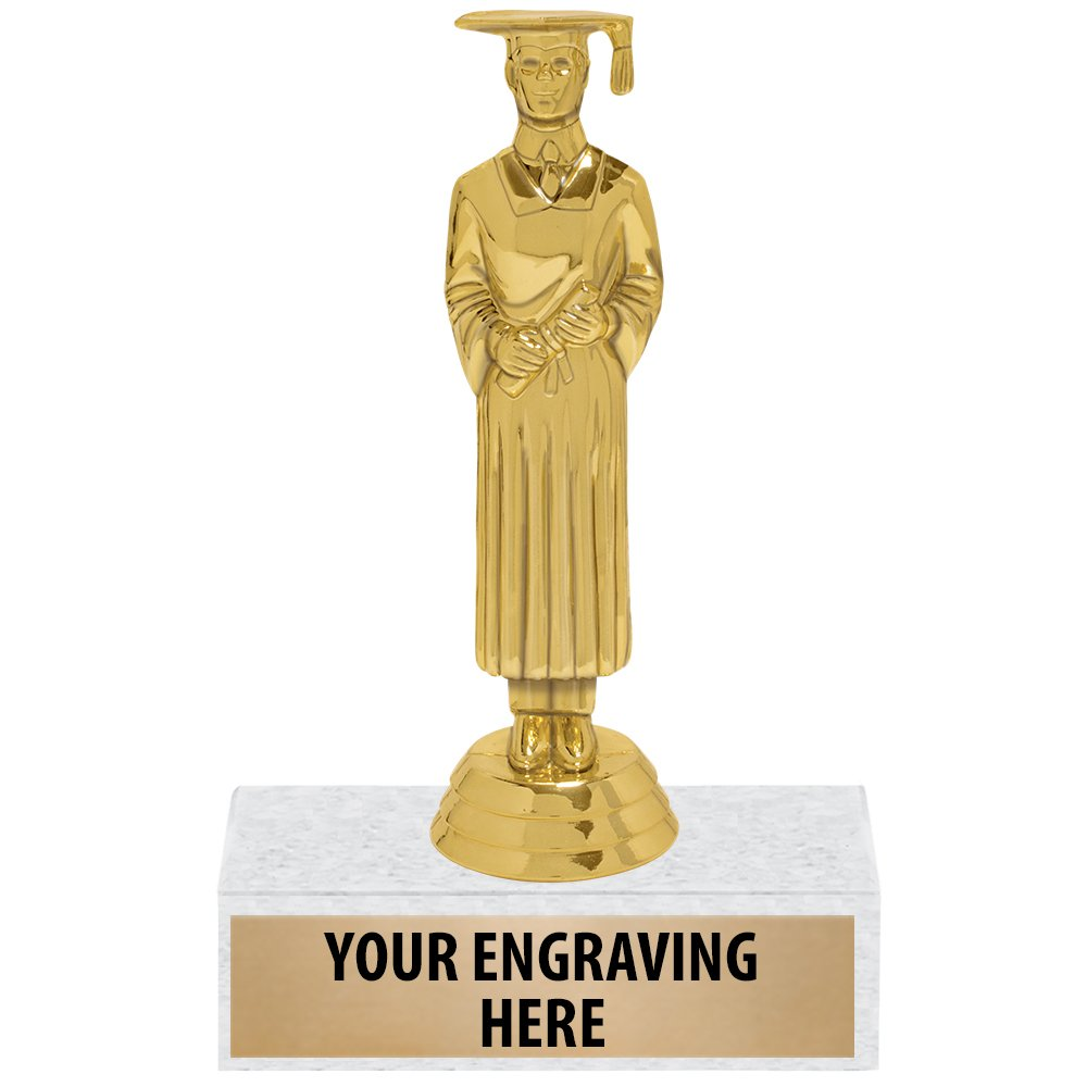 Custom Graduation Award Trophies - 5'' Male Graduate Trophy Gift 10 Pack