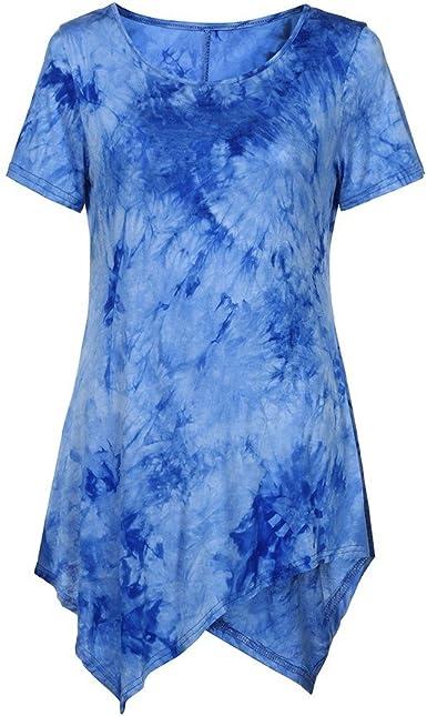 New Elegant Floral Print 3//4 Sleeve Long O-Neck T-Shirt Women Irregular Top N7