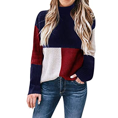 a952d9c276 Women Sweaters Women s Colorblock Long Sleeve Turtleneck Knitted Sweater  Jumper Pullover Top Blouse (Blue