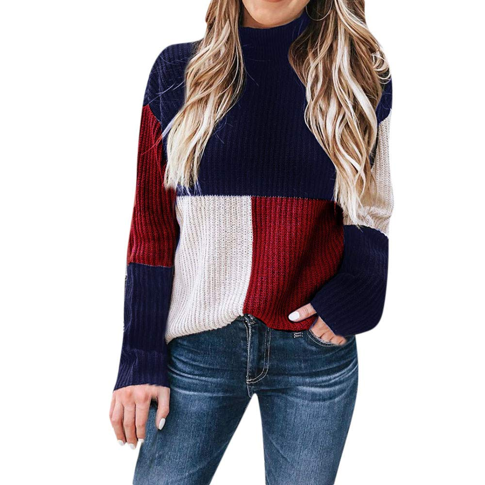 Hunzed women sweater Warm Casual Fashion Colorful Pullover Sweater (Blue, Large)