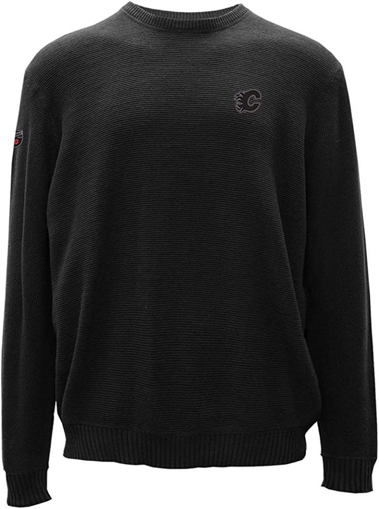 Small Black Levelwear LEY9R NHL Calgary Flames Adult Men Muskoka Crew Optic Crest Crewneck Sweater