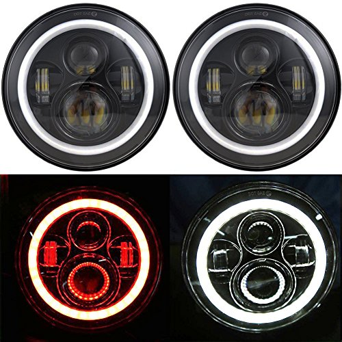 Ohmotor 2 PCS Jeep Wrangler LED Headlights 7 Inch Round LED Bulb with White/Red Halo Angle Eye Ring & DRL & Turn Signal Lights for Jeep JK TJ CJ 1997-2017 Cruiser Hummer H1 H2 Harley Davidson