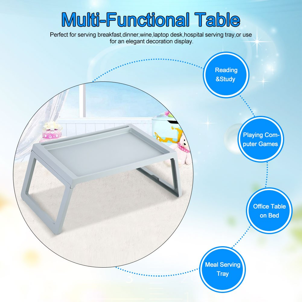 SOULONG Foldable Bed Table Foldable Desk Breakfast Bed Table Computer Laptop Holder Portable Serving Tray For Home Dormitory Office Beige
