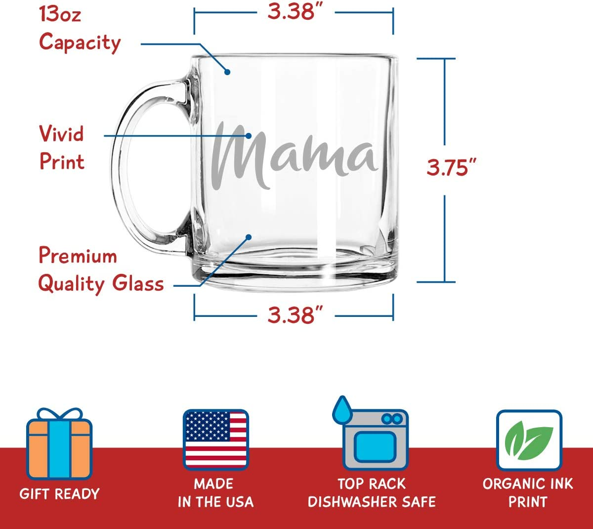 Set of 2   Cute coffee Glasses Set for Mother Daughter Matching Gifts Idea Mama Mamas Girl Coffee Mugs Great for Birthday Mother/'s Day Gift for Mom From Daughter