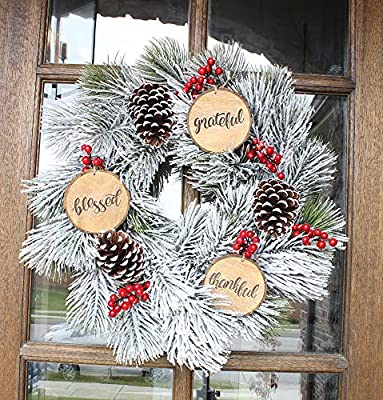 SAM + OLLIE FURNISHINGS Large Rustic Christmas Ornaments with Thankful, Grateful & Blessed (Set of 3) 4 inch; Round Wooden Farmhouse Decor Country Indoor Decorations