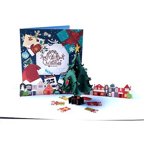 Amazon.com: HOTUMN - Tarjeta de felicitación de Navidad 3D ...