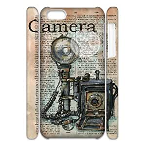 3D iPhone 5C Case Camera Mixed Media Drawing on Distressed Dictionary Page For Teen Girls Protective, Protective Case For Iphone 5c Binocara, [White]