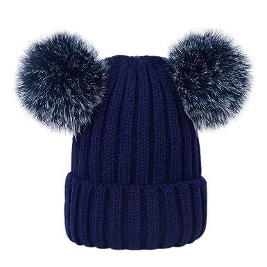 27f93ada5f0 Lau s Bonnet hiver fille chaud hiver bonnet beanie bebe avec deux pompons  Bleu marin
