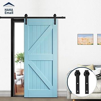 Hahaemall - Kit de riel plano para puerta corredera, diseño moderno de barra de metal, color negro, negro: Amazon.es: Bricolaje y herramientas