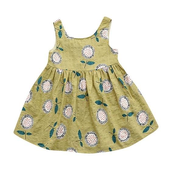 Btruely Herren Bebé Niñas Vestidos Sin Mangas floral Impresión sin espalda casual princesa Vestidos (3T