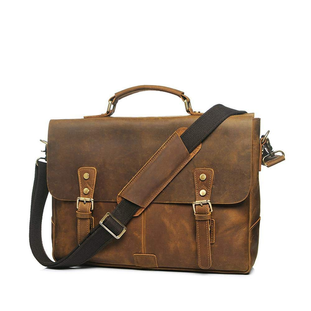 Color : A Botoushipeifangxiaomaipu Mad Horse Skin Series Head Cowhide Briefcase Mens Tote Cross Shoulder Bag Crossbody Bag wear Resistant Waterproof