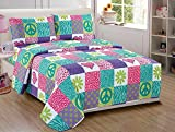 Fancy Collection 4pc Sheet Set Teens/Girls safri pink purple peace sign new Full Size