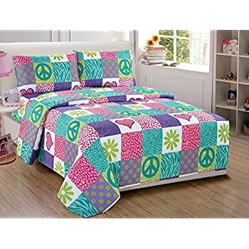 Fancy Collection 3pc Sheet Set Twin size Teens//Girls White Pink Purple Peace Sign New #peace white